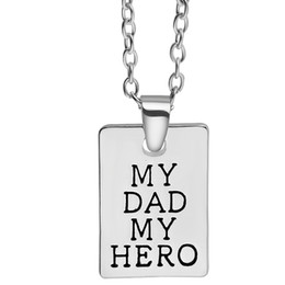 cool men chains pendants Promo Codes - Father Day letters My Dad My Hero Fashion Charm Pendant Necklace Jewelry Alloy Wholesale Love Men Cool Best Gift Party ZJ-0903795