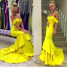 Wholesale Cheap Bright Dresses - Bright Yellow Off Shoulder Mermaid Evening Gowns 2016 Satin Tiered Sexy Prom Dresses Sweep Train Formal Wear Party Dresses Cheap