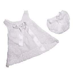 Wholesale Top American Wholesalers - Baptism Baby Clothes ,White Lace Little Girls Clothing Set ,Lace Pattern Baby Swing Top Set With Bow ,2T toddler clothes