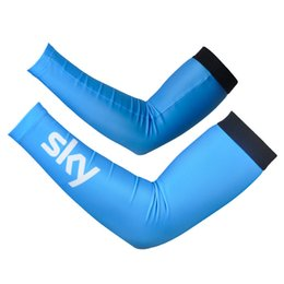 Wholesale Cycling Sky Arm Sleeves - 2016 sky new pro team 1pair Free Shipping New Bike Arm Warm Kit Cycling Arm Warmers Bicycle Riding Arm Sleeve Cover