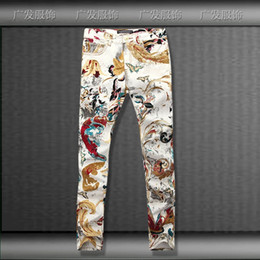 washing ties Coupons - Wholesale- new butterfly Oil painting tie dye denim jeans for men,washed casual slim butterfly printing jeans men,size 28-36,