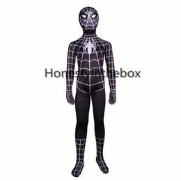 Wholesale Sexy Zentai Spiderman - Brand New 2017 Children Black Spiderman Costumes Lycra Spandex Superhero Spider-man Zentai Bodysuit Costume For Halloween