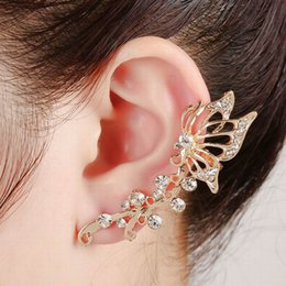 Wholesale Silver Butterfly Ear Cuff - New Fashion Statement Elegant Vintage Punk Gothic Gold Silver Plated Crystal Rhinestone Butterfly Ear Cuff Wrap Clip Earrings DHE160