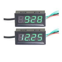 Wholesale 24v Digital Clocks - 3 In 1 Car Clock Thermometer Voltmeter With Green LED DC 12V 24V 0.56 Digital Electronic Termperature Volt Meter Gauge