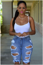 Wholesale Distressed Women Jeans - Short Jeans Women 2016 Hot Summer Style High Waisted Ripped Denim Distress Shorts Jeans Casual Hole Rock Boyfriend Jeans Shorts