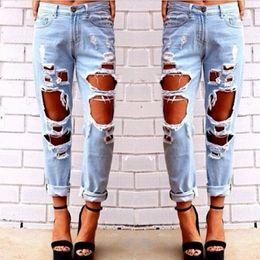 Jean long pour femme en Ligne-2015081401 2015 New Fashion jeans femme Bleu clair Solide Nouveauté Skinny Pleine longueur déchirée