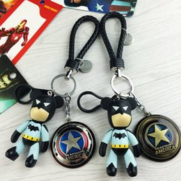 Wholesale Superman Mask Kids - 2016 Super Hero The Avengers Marvel Iron Man Mask Keychain Superman Cartoon Violence Bear Metal Pendant Key Chains Free Shipping