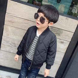 Wholesale 5t Boys Jacket - New Arrival Cool Kids Jackets Autumn Winter Thicken Boy Jacket Round Neck Zipper Square Handsome Boys Coats Outwear 90--130