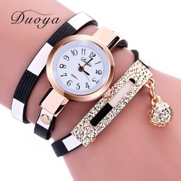 Wholesale Pink Pin Stripes - Duoya 2017 New Brand Stripe Navy Style Luxury Gold Women Bracelet Watch Dress Female Leather Electronic Quartz Wristwatch XR1857