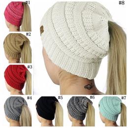 Wholesale Crochet Girls Beanies - Women CC Beanies Winter Woolen Caps Girl Ponytail Hats Women Winter Warm Knitted Crochet Skull Beanie 8 Colors 120pcs OOA2876