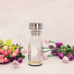 Wholesale Tea Bottles Strainers - Heat-resisting Glass Water Bottle Double Wall Glass Cup with Tea Infuser Strainer Vacuum Cup Portable Filter Tea Tumbler Gift