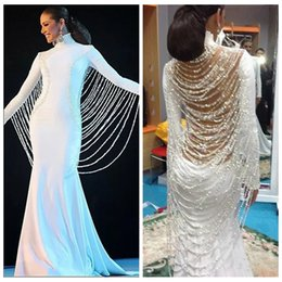 Wholesale Long Slim Dress Elastic - 2017 Long Muslim Middle East Dubai Slim Prom Dresses Beading Pearls Saudi Arabia Prom Party Gowns Vestidos De Fiesta Formal Party Gowns