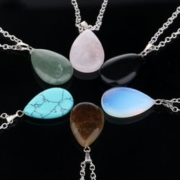 Wholesale Turquoise Amethyst Pendant - Chain Necklace Bullet Shape Natural Stone Real Amethyst Necklaces For Women Turquoise Water Drop Quartz Stone Pendant Necklace for women