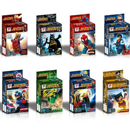 Wholesale Super Man Baby - 8Pc Set Super Heroes The Avengers Iron Man Superman Minifigures Building Blocks Sets Baby Figure Brick Toys For Children Gift Retail Box