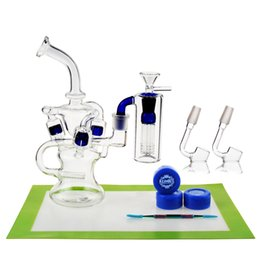 Wholesale pipe tools - REANICE BOX Newest Glass Recycler 14.5mm Jonit Blue + Silicon mat Silicon wax Metal tools spoon glass oil burner pipe Cheap Bong
