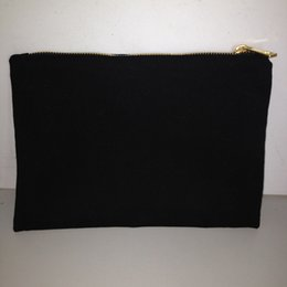 Wholesale Black Bag Zip - Black cotton canvas makeup bag with matching color lining 7x10in gold zip cotton pouch custom cotton bag canvas bag for DIY print paint