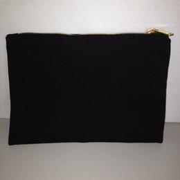 Wholesale Canvas Paintings Wholesalers - Black cotton canvas makeup bag with matching color lining 7x10in gold zip cotton pouch custom cotton bag canvas bag for DIY print paint