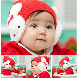 Wholesale Cute Girls Hat Photos - 10PCS New Baby Cute Two-Side Cartoon Rabbit Soft Hats Children Crochet Knitted Beanie Cap Infants Toddler Girls Photo Props Hair Accessories