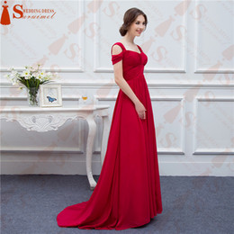 Wholesale Fashion Events - Chiffon Long Events Prom Dresses V neck Sexy Side Slit Cap Sleeve Red Prom Dresses Evening Dress Free Shipping Real Samples