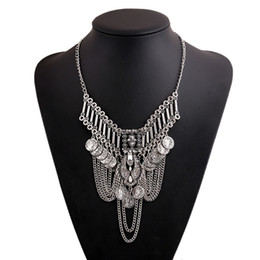 Wholesale antique coin jewelry - Vintage Jewelry Statement Necklaces for women fashion Boho Coin chunky choker Necklaces antique Silver Gold Tassels statement necklace