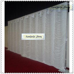 Wholesale Ice Wave - Wholesales Free shipping 10ftx20ft ice silk wedding backdrop  white Wave Fireproof curtain nice pleated stage background for photograp