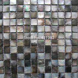 Wholesale Wholesale Black Mosaic Tile - Free Shipping! Natural black mother of pearl Mosaic tiles,kitchen backsplash tiles bathroom mosaic tile.20x20MM shower panel