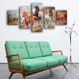 Wholesale Large Canvas Piece - 5 Pieces Canvas Paintings Art Large Running Horses Picture Painting on Canvas Print Modern Home Decorations Wall Art Animal Horse Painting