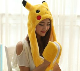Wholesale Lovely Gloves - Poke Go Pikachu Plush Hat With Gloves Cosplay Cap Long Ear flap Lovely Warm Hat Gloves Hollween Christmas Best Gift