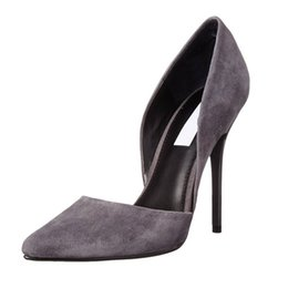 Wholesale Gray Dress Shoes Women - Karmran Women Handmade Fashion 100mm High Heel d'Orsay Suede Pumps Shoes For Evening Dressing Party Gray