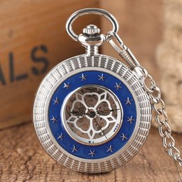 Wholesale Sliver Chain Watch - Vintage Sliver Hand Winding Mechanical Pocket Watch Men Hollow Windup Carving Pendant Watches Retro Skeleton Fob Chain Clock