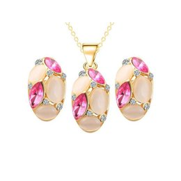 Wholesale Bridal Jewelry Set Blue - Bridal Wedding Jewelry Sets 18K Gold Plated Opal Crystal Cluster Stud Earrings Pendant Necklace for Women
