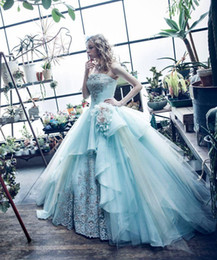 Wholesale Sweetheart Princess Prom Dresses - 2016 New Princess Quinceanera Dresses Sweetheart Appliques Flowers Light Blue 16 Sweet Girls Prom Party Special Occasion Gowns Plus Size