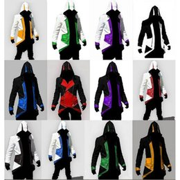 Wholesale Connor Costume - Hot Sale Custom handmade Fashion Assassins Creed 3 III Connor Kenway Hoodies Costumes Jackets Coat 12 colors choose direct from factory