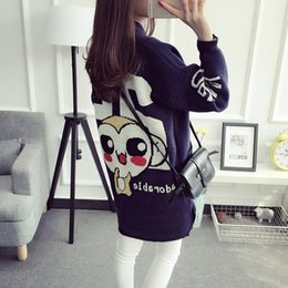 Wholesale Cardigan College Sweater Women - Wholesale- Autumn and Winter New College Wind Loose Long Section Small Monkey Printing Knit Cardigan Sweater AXD1439
