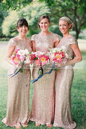 Wholesale Dress Prom Gold Color - Gold Pink Color Sequins Bridesmaid Dresses Mermaid Sexy Back Prom Dresses Short Sleeves Party Dresses