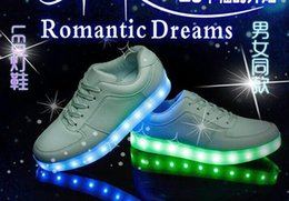 Wholesale Colorful Sneakers For Women - 7Colors LED luminous shoes men women fashion sneakers USB charging light sneakers for adults colorful glowing 35-44 flat shoes 1pcs lot