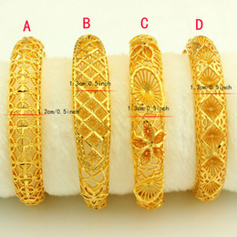 Wholesale 24k Gold Plated Bangles - New Arrival Dubai Gold Bangles Women Men 24k Gold Color Bangles&Bracelet African Ethiopian Arab Kenya Middle East Wedding Gifts