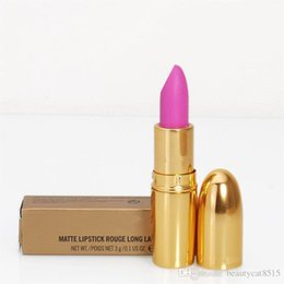 Wholesale Names Stickers - Hot Supplying Brand New Matte Lipsticks in Golden Ferrule 20 Colors with English Name 3.0G, Long lasting mc lips stickers FREE SHIPPING