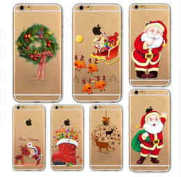 Wholesale Iphone Christmas Santa Case - 2017 New Hot Sale Christmas Day Santa Claus Christmas tree Series Phone Case For iPhone 5 6 6s Cute Ultra Thin Clear Soft TPU Capa
