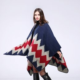 Wholesale Capes Shawls Ponchos For Women - Winter Warm Pashmina shawl Blanket scarves scarfs Style Cape Sweater Coats patchwork Zig Zag Poncho cloak for women Clothes freeship f0014