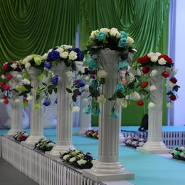 Wholesale wedding plastic roman props - Free Shipping Height 89cm (35 inch) Roman Road Lead Rome Plastic Column Style With Flower And Flower Pot For Wedding Mall Opened Props