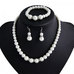 Wholesale Freshwater Black Pearl Set - European and American fashion imitation pearl necklace bride jewelry necklace earrings bracelet suit Freshwater Pearl Sets