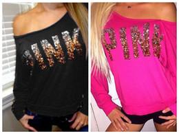 Wholesale Women Collar Pink Top - 2017 VS Sequins PINK Letters Off Shoulder Loose Love Pink Sweatshirt Round Collar Pullover Loose Down Coat Jacket Tops