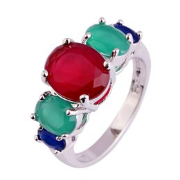 Wholesale Emerald Ruby Rings - Fashion Women Rings Ruby Emerald 18K Gold Plated Silver Ring Size 6 7 8 9 10 11 12 13 Free Shipping Wholesale
