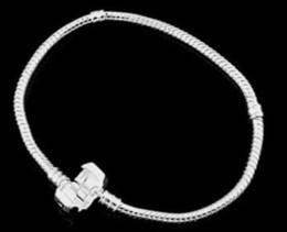 Wholesale Men Bracelet Sterling Silver Snake - 2017 hot Xmas wholesale 8inch fashion 925 sterling Silver Bracelet European Style Bead Fit 3mm Snake Chain charm Bracelet for women men PH