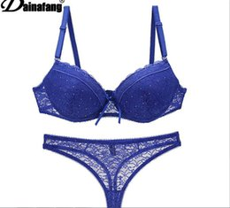 Wholesale Black Diamond Push - Foreign luxury lace bra set diamond ultra sexy lingerie together underwear 6 colour