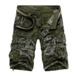 Wholesale Korean Camo - Trendy Fashion Summer Mens Camo Large Multi Pockets Shorts Loose Casual Outdoor Sport Cargo Trousers Korean Style Plus Size