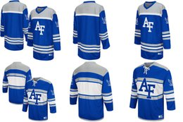 Wholesale Full Forces - Customize Air Force Falcons Colosseum Blue Hockey Jersey Mens Womens Kids Custom Any Name NO.Best quality Ice Hockey Jerseys S-6XL
