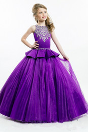 Wholesale Girls Black Fur Vest - Purple Girl's Pageant Dresses Sheer Crew Neck Beaded Crystals Ruffles Waist Ball Gown Princess Kid's Formal Dresses For Little Girls 2016 Ho