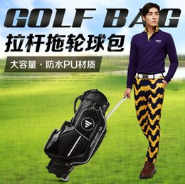 Wholesale Golf Water Proofs - Wholesale- PGM Golf Caddy Bag.Wheel,Cap,Shoes Pocket, Handle.The Handle Can Be Invisible,Complete Golf Set Bag,Water-Proof,Anti-Friction